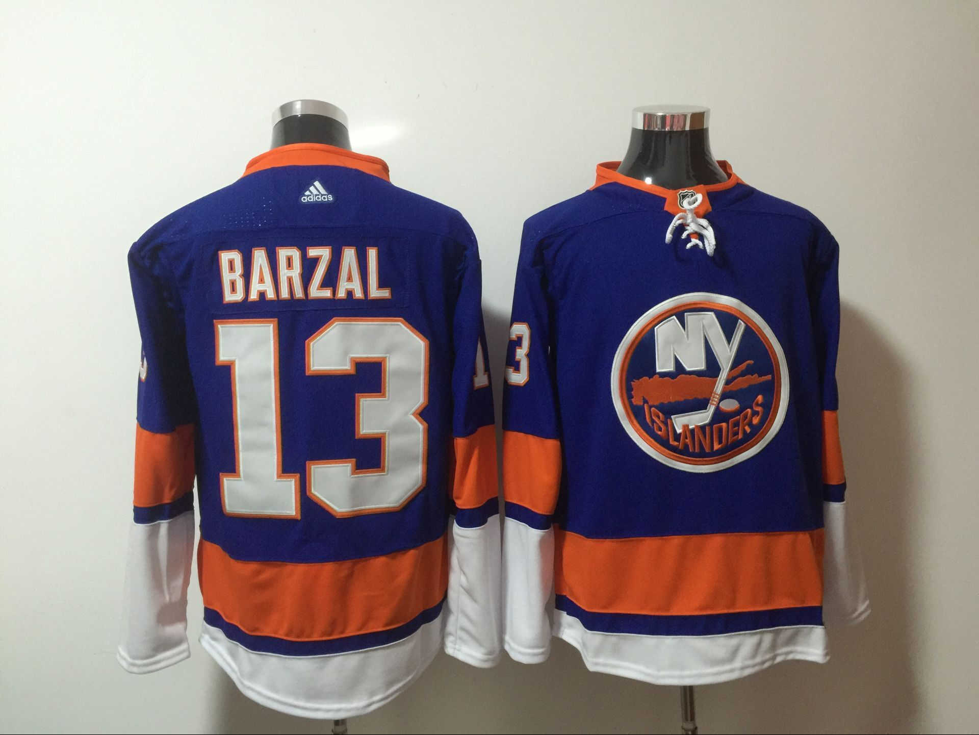 Men New York Islanders 13 Barzal blue Adidas Hockey Stitched NHL Jerseys