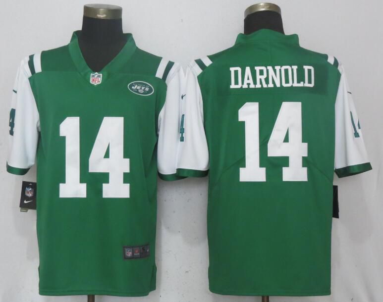 Men New York Jets 14 Darnold Green Vapor Untouchable Limited Player Nike NFL Jerseys
