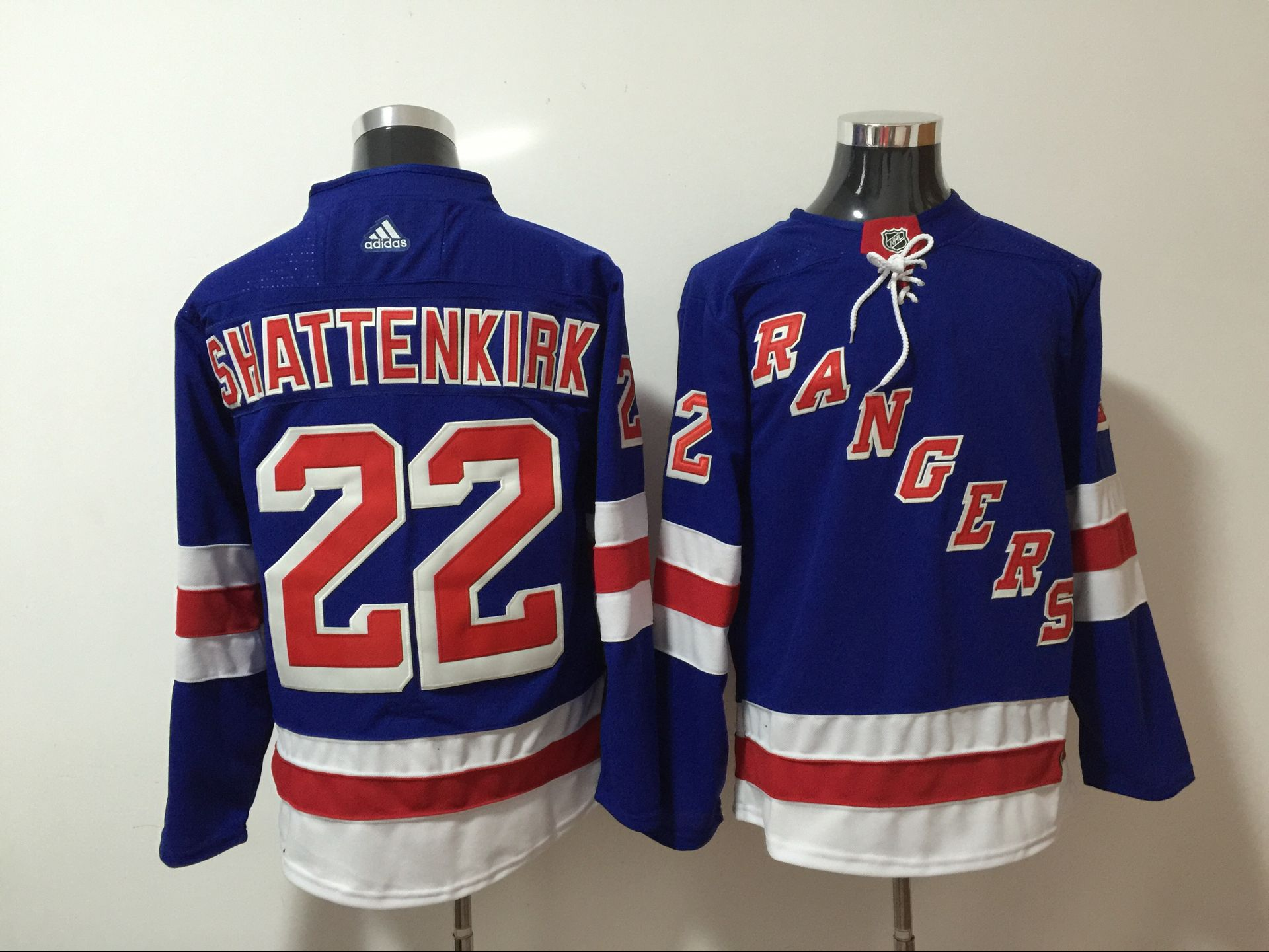 Men New York Rangers 22 Shattenkirk Blue Hockey Stitched Adidas NHL Jerseys