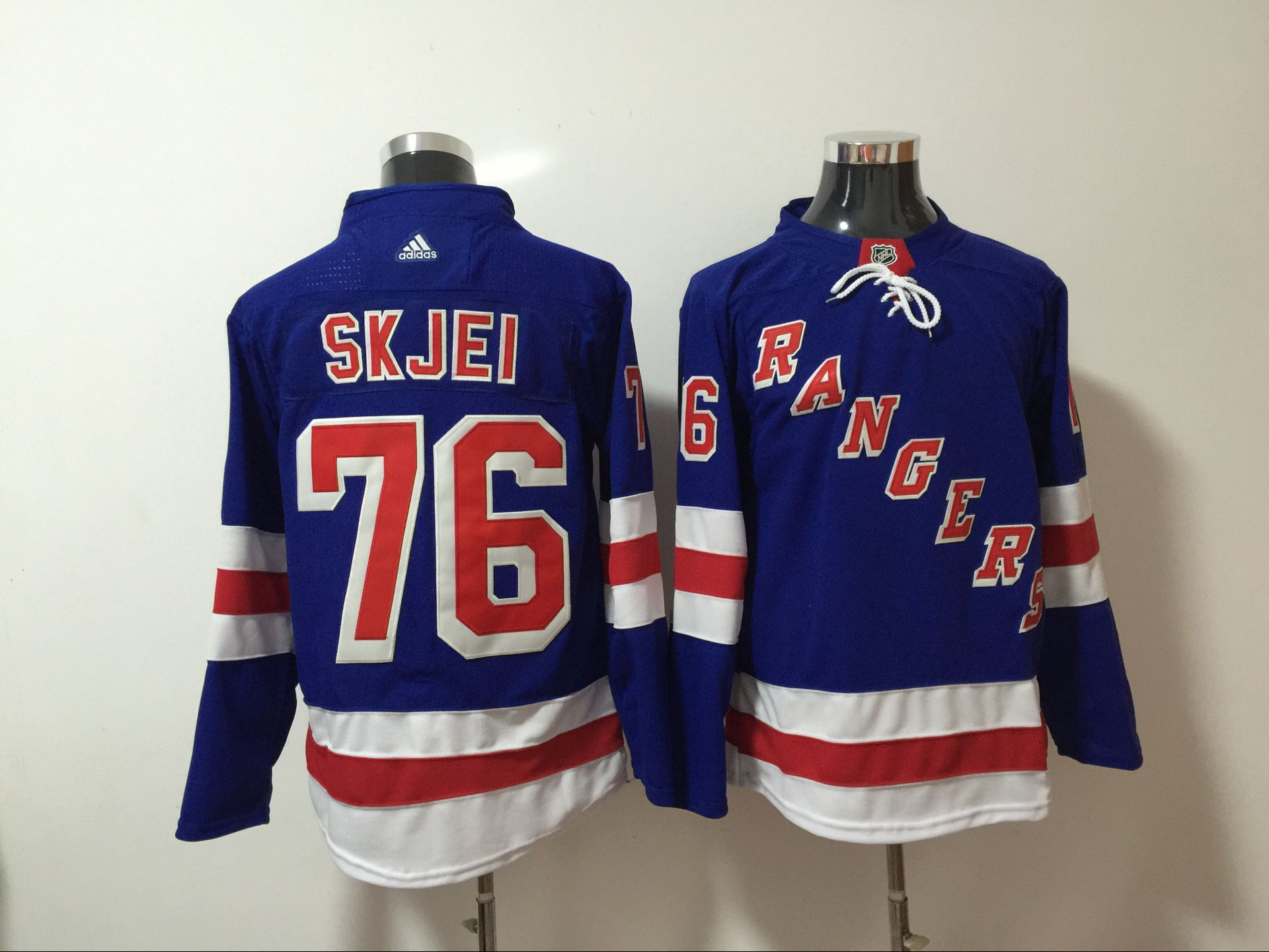 Men New York Rangers 76 Skjei Blue Hockey Stitched Adidas NHL Jerseys