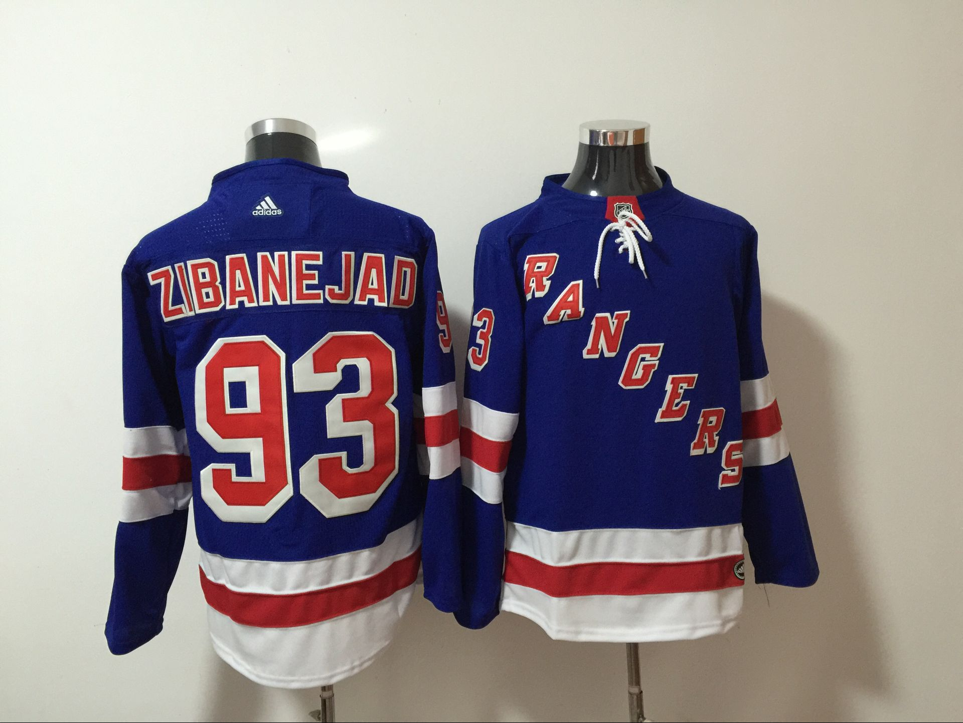 Men New York Rangers 93 Zibanejad Blue Hockey Stitched Adidas NHL Jerseys