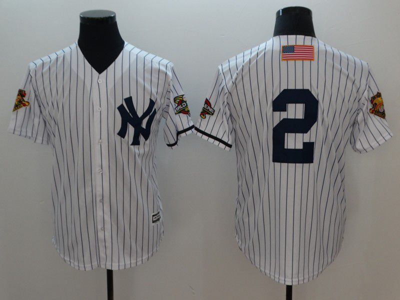 Men New York Yankees 2 No Name White Throwback Game MLB Jerseys