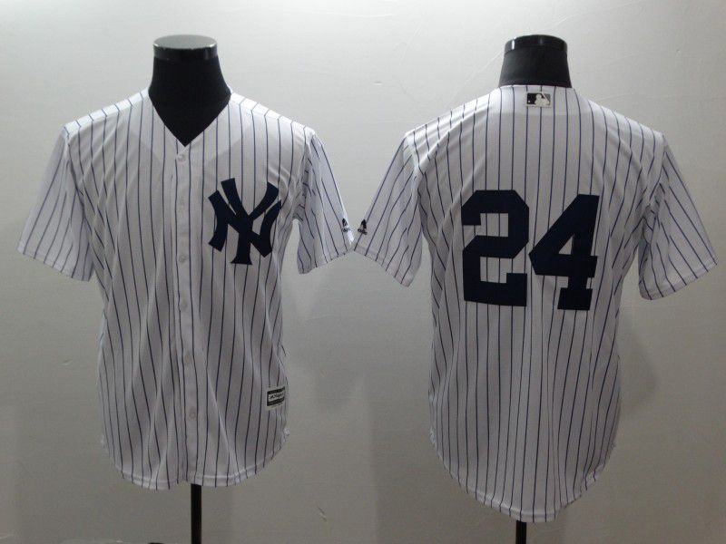 Men New York Yankees 24 No name White stripes Game MLB Jerseys