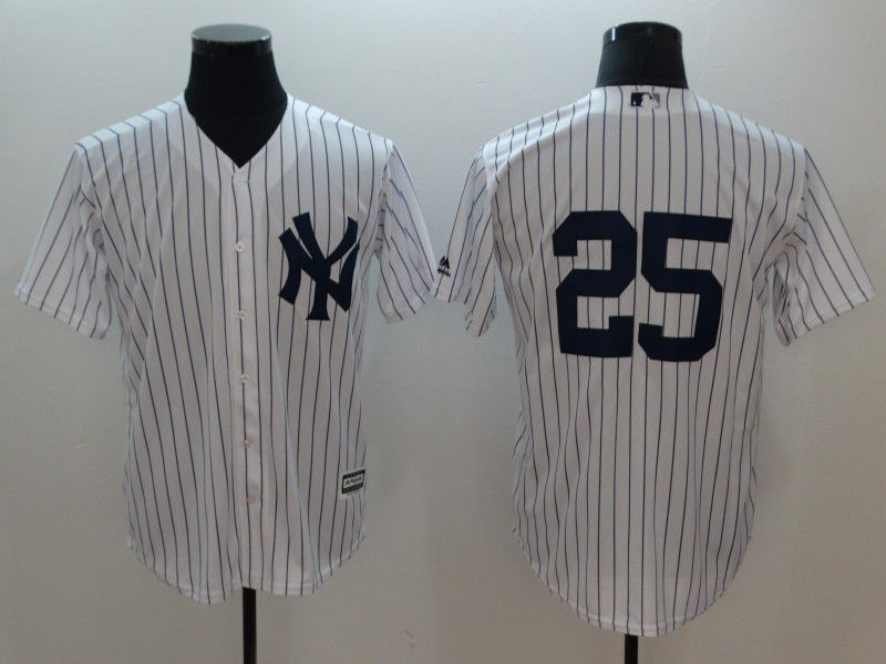 Men New York Yankees 25 No Name White Game MLB Jerseys
