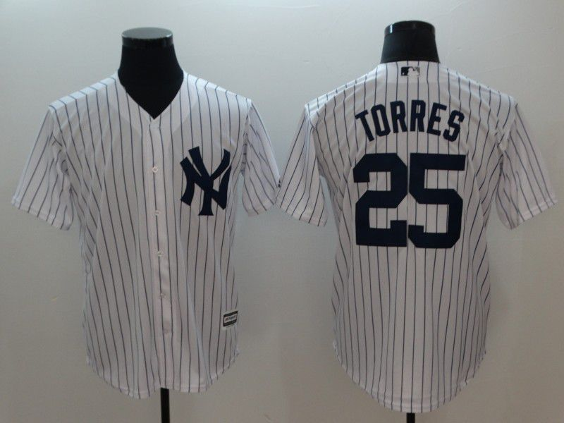 Men New York Yankees 25 Torres White Game MLB Jerseys
