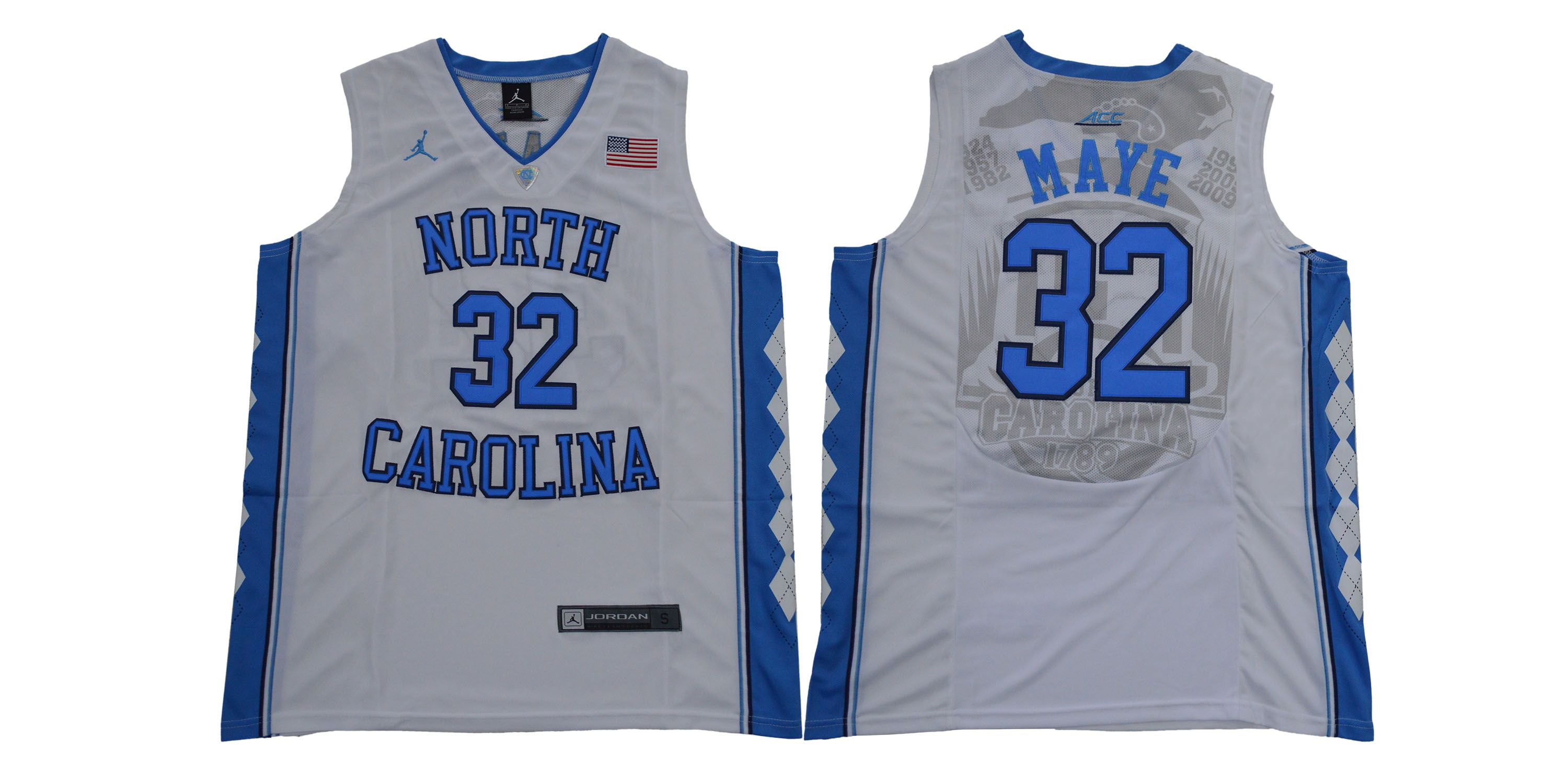 Men North Carolina Tar Heels 32 Maye White NCAA Jerseys
