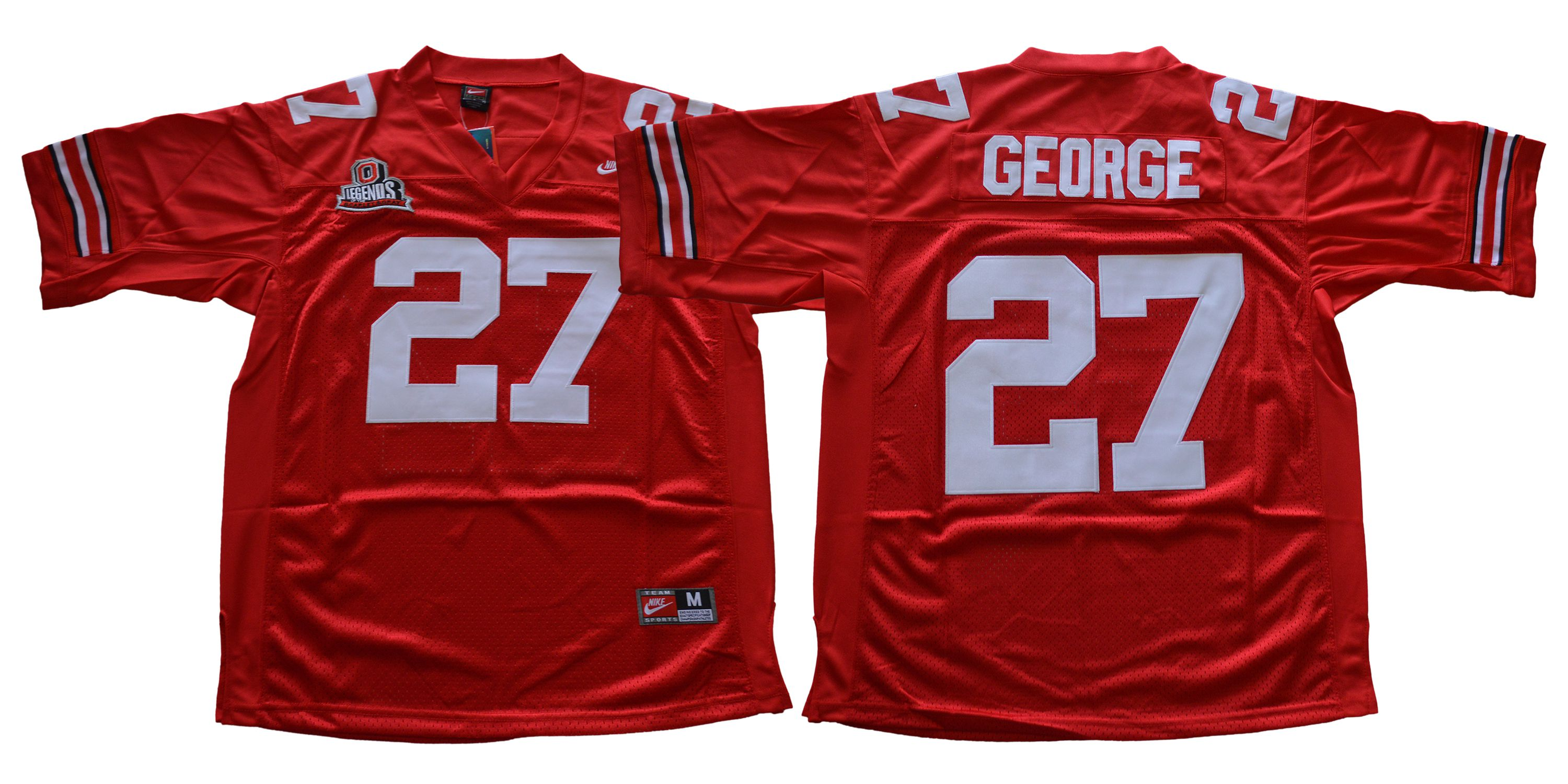 Men Ohio State Buckeyes 27 George Red Throwback Nike NCAA Jerseys