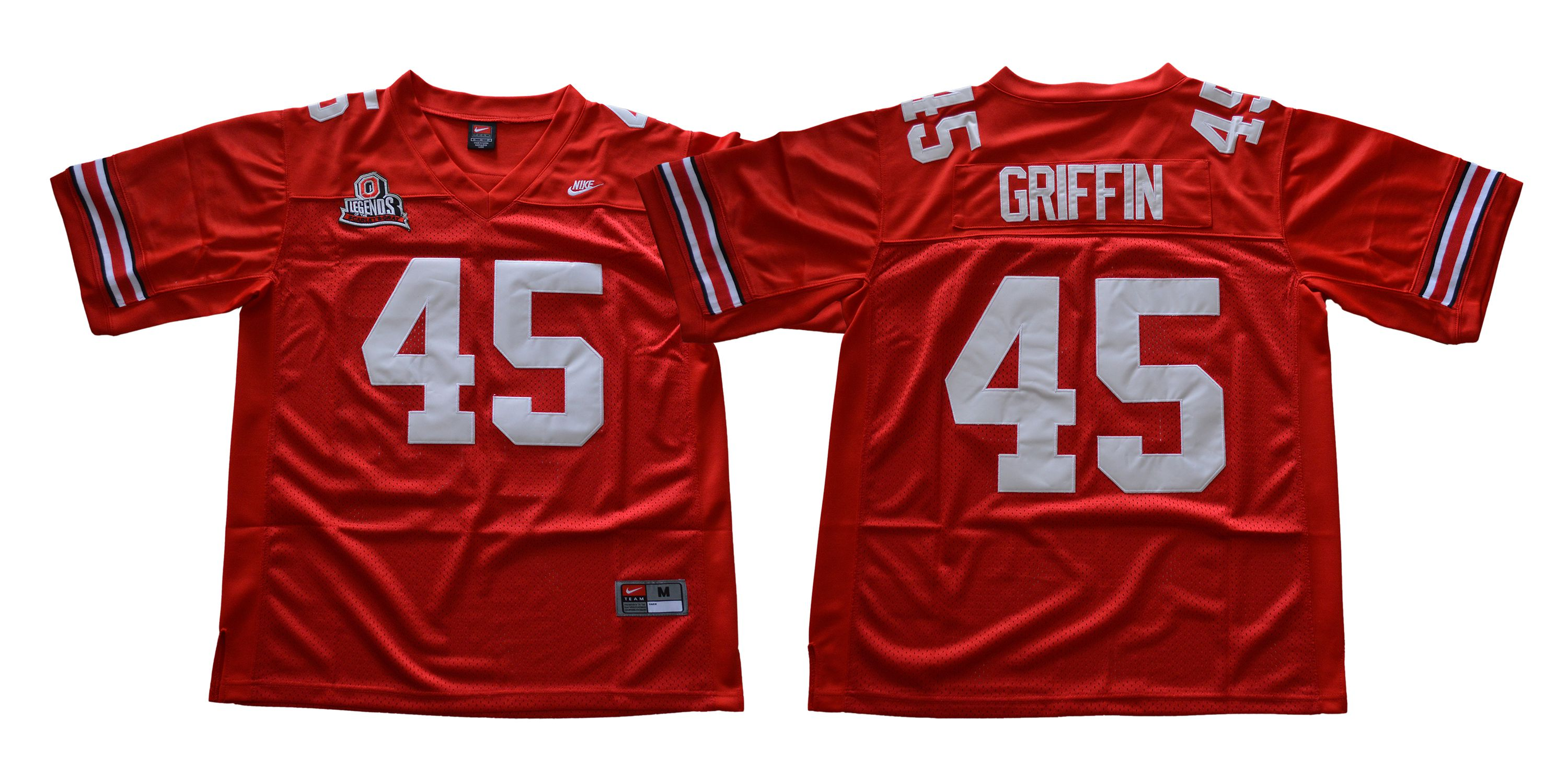 Men Ohio State Buckeyes 45 Griffin Red Throwback Nike NCAA Jerseys