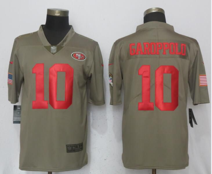 Men San Francisco 49ers 10 Garoppolo Olive Salute To Service Limited Nike NFL Jerseys
