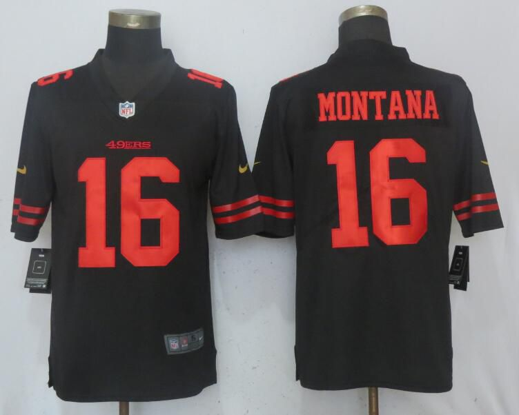 Men San Francisco 49ers 16 Montana Black Vapor Untouchable Limited Player Nike NFL Jerseys