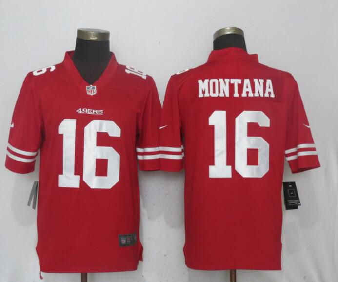 Men San Francisco 49ers 16 Montana Red Vapor Untouchable Limited Player Nike NFL Jerseys