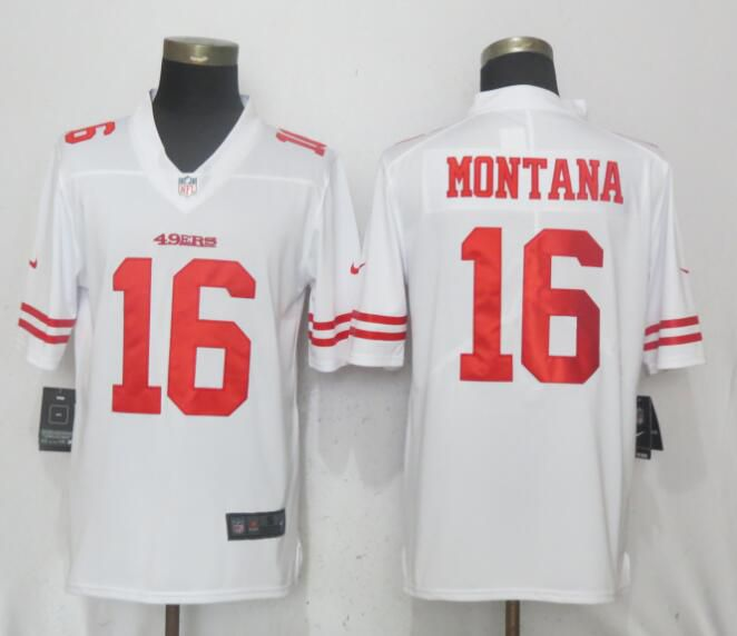 Men San Francisco 49ers 16 Montana White Vapor Untouchable Limited Player Nike NFL Jerseys