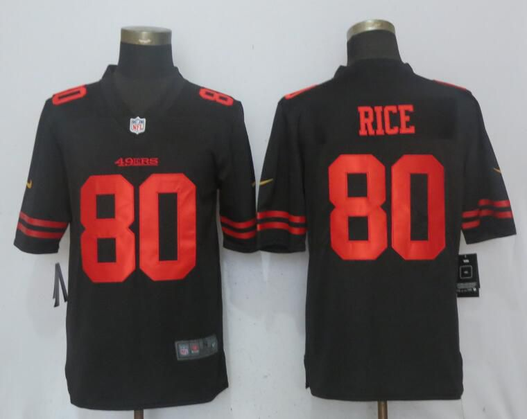 Men San Francisco 49ers 80 Rice Black Vapor Untouchable Limited Player Nike NFL Jerseys