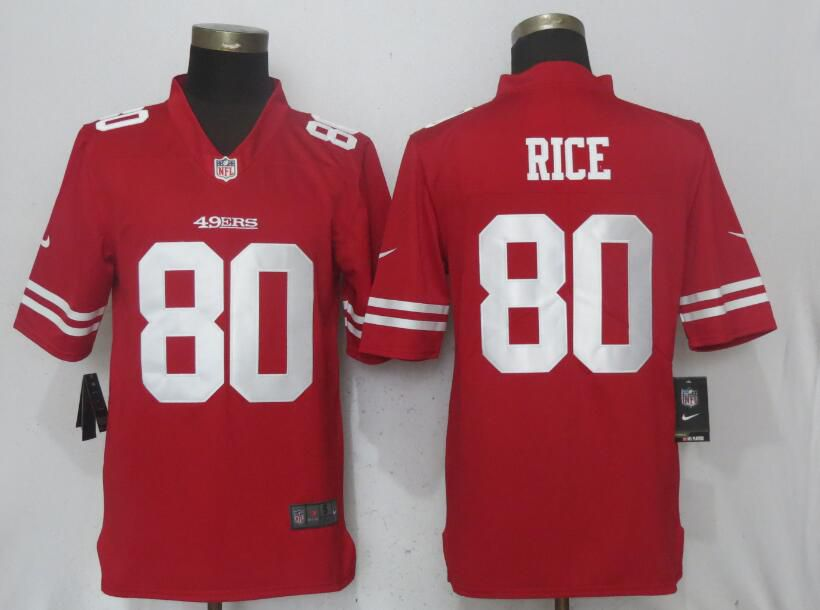 Men San Francisco 49ers 80 Rice Red Vapor Untouchable Limited Player Nike NFL Jerseys