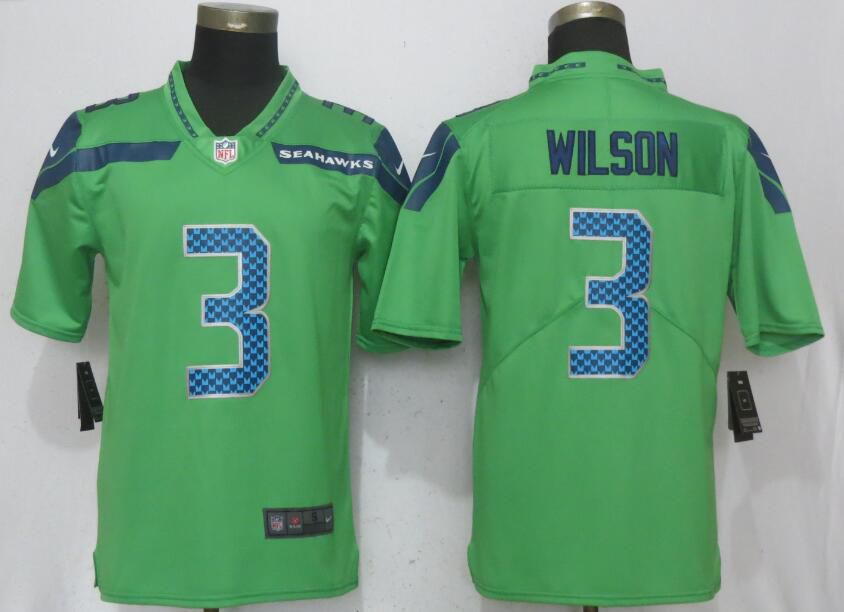 Men Seattle Seahawks 3 Wilson Green Nike Vapor Untouchable Limited NFL Jerseys