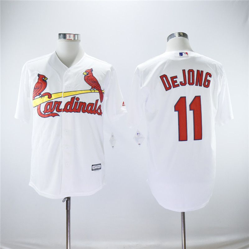 Men St.Louis Cardinals 11 Dejong White Game MLB Jerseys