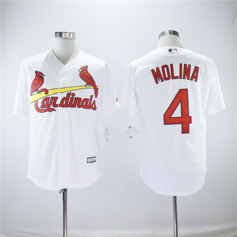Men St.Louis Cardinals 4 Molina White Game MLB Jerseys
