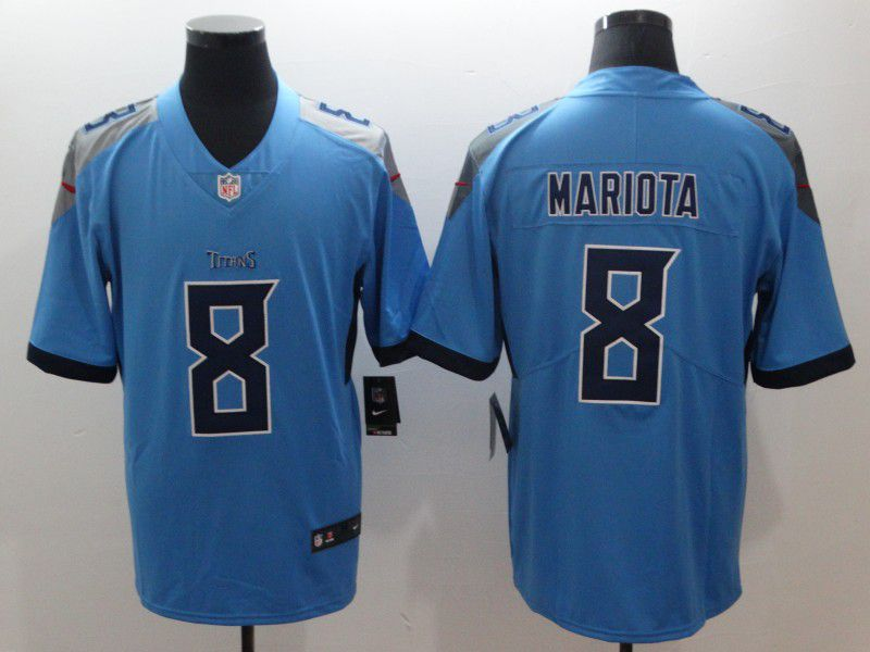 Men Tennessee Titans 8 Mariota Light Blue Nike Vapor Untouchable Limited NFL Jerseys