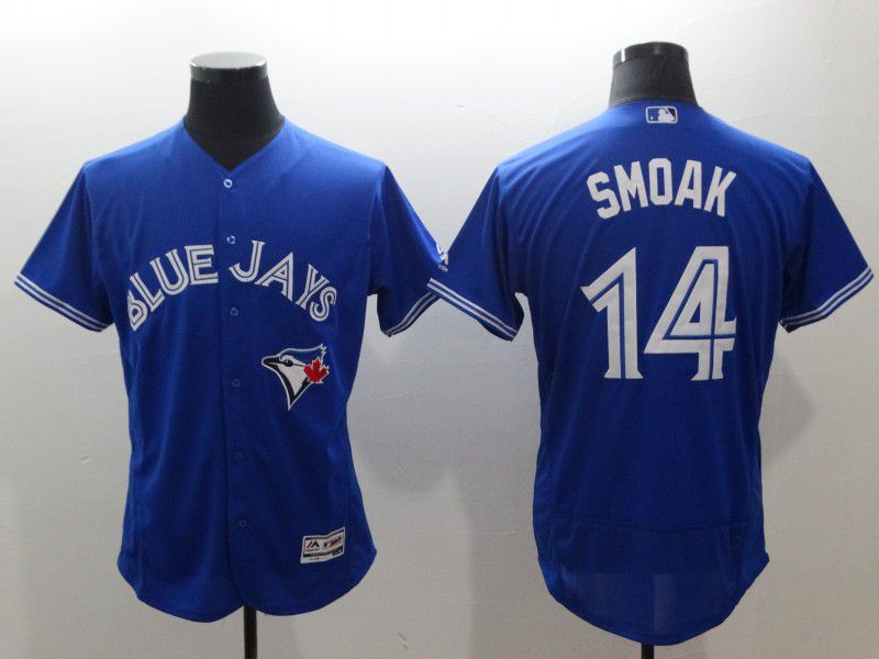 Men Toronto Blue Jays 14 Smoak Blue Elite MLB Jerseys