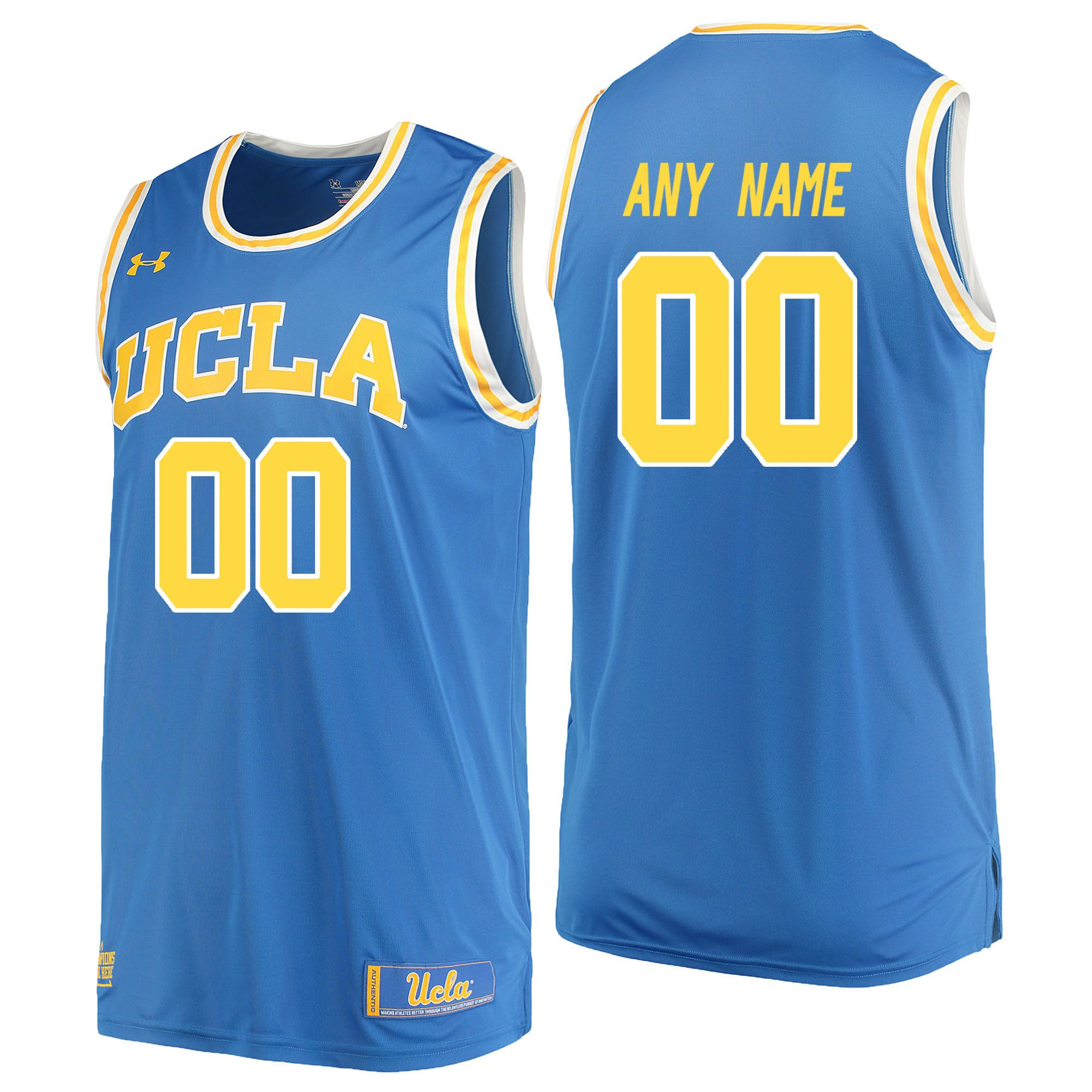 Men UCLA UA 00 Any Name Light Blue Customized NCAA Jerseys