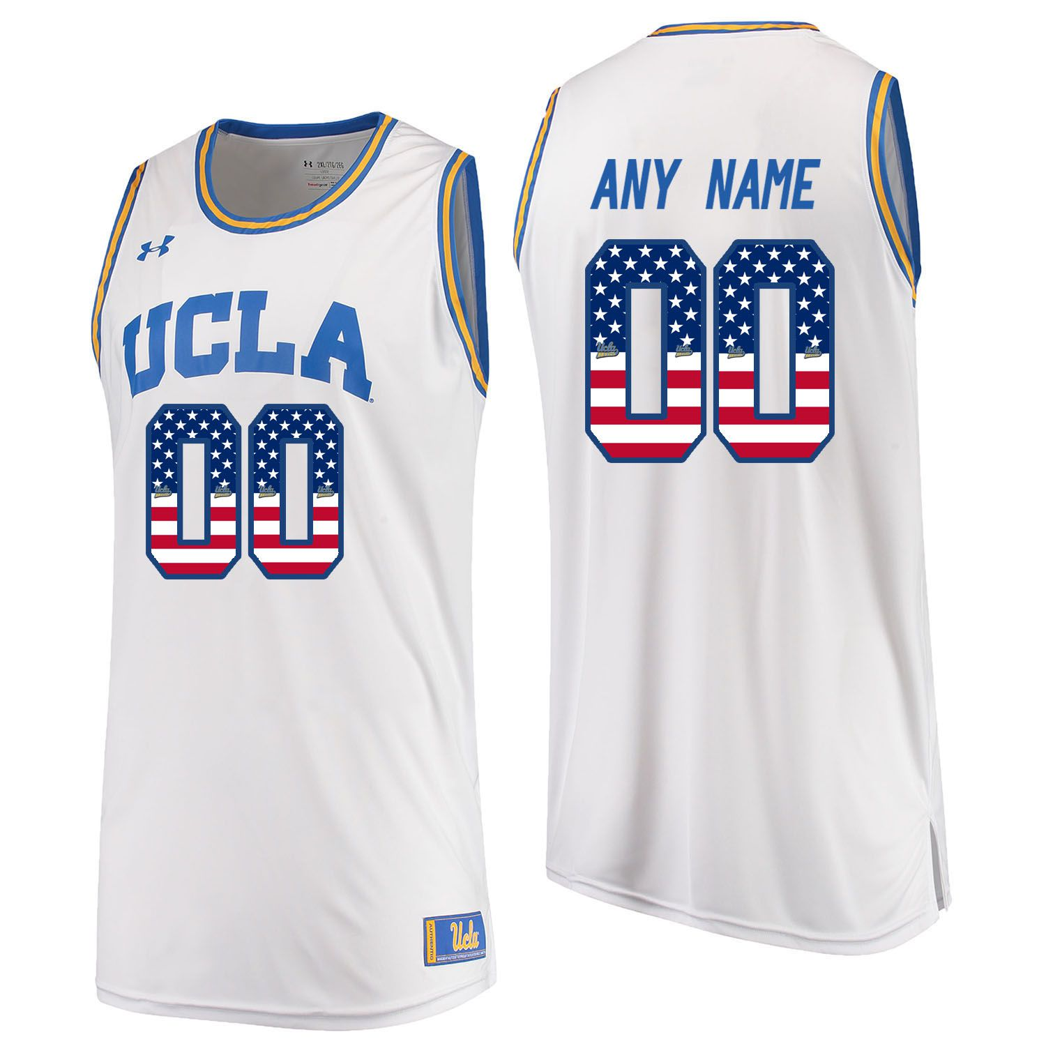 Men UCLA UA 00 Any Name White Flag Customized NCAA Jerseys
