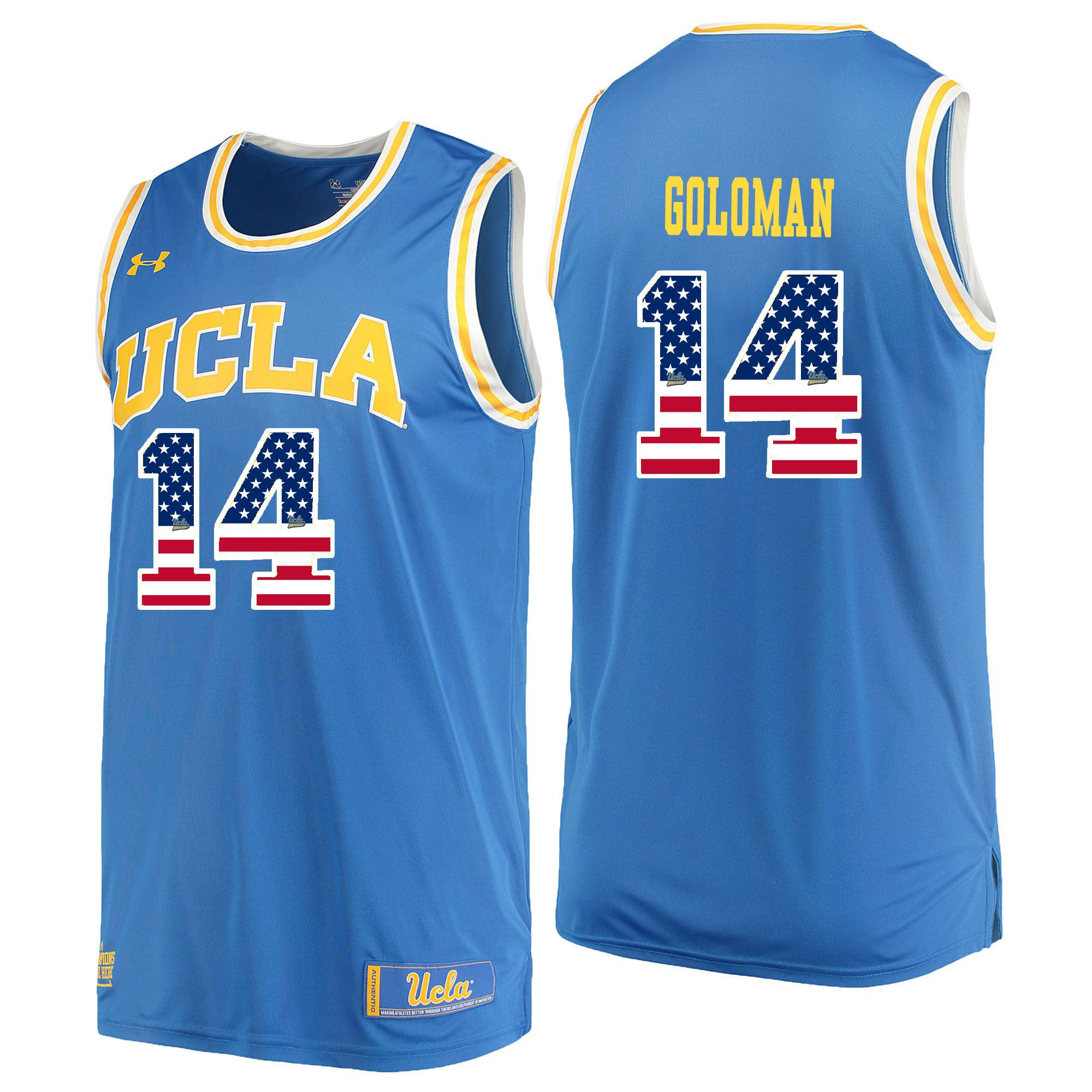 Men UCLA UA 14 Goloman Light Blue Flag Customized NCAA Jerseys