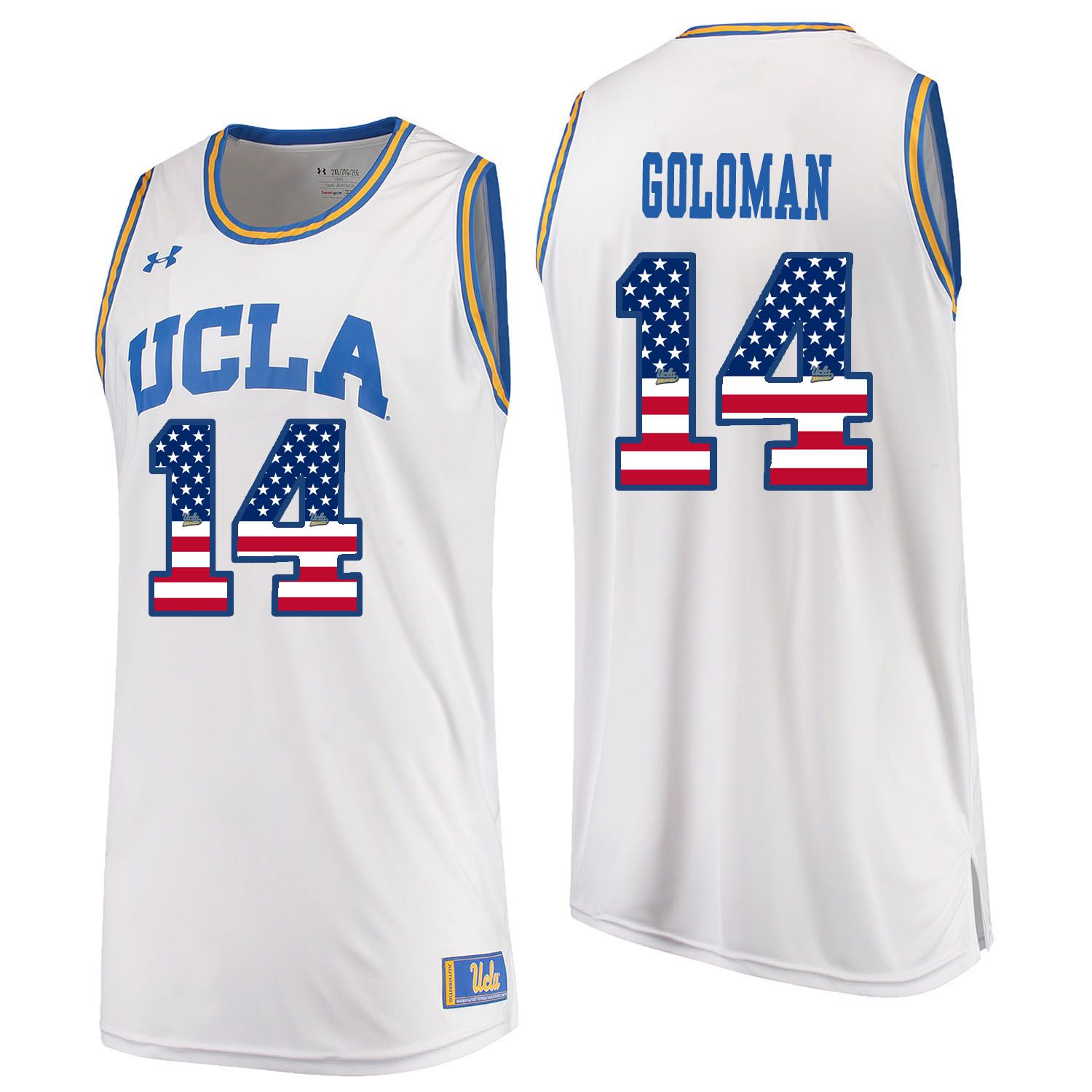 Men UCLA UA 14 Goloman White Flag Customized NCAA Jerseys