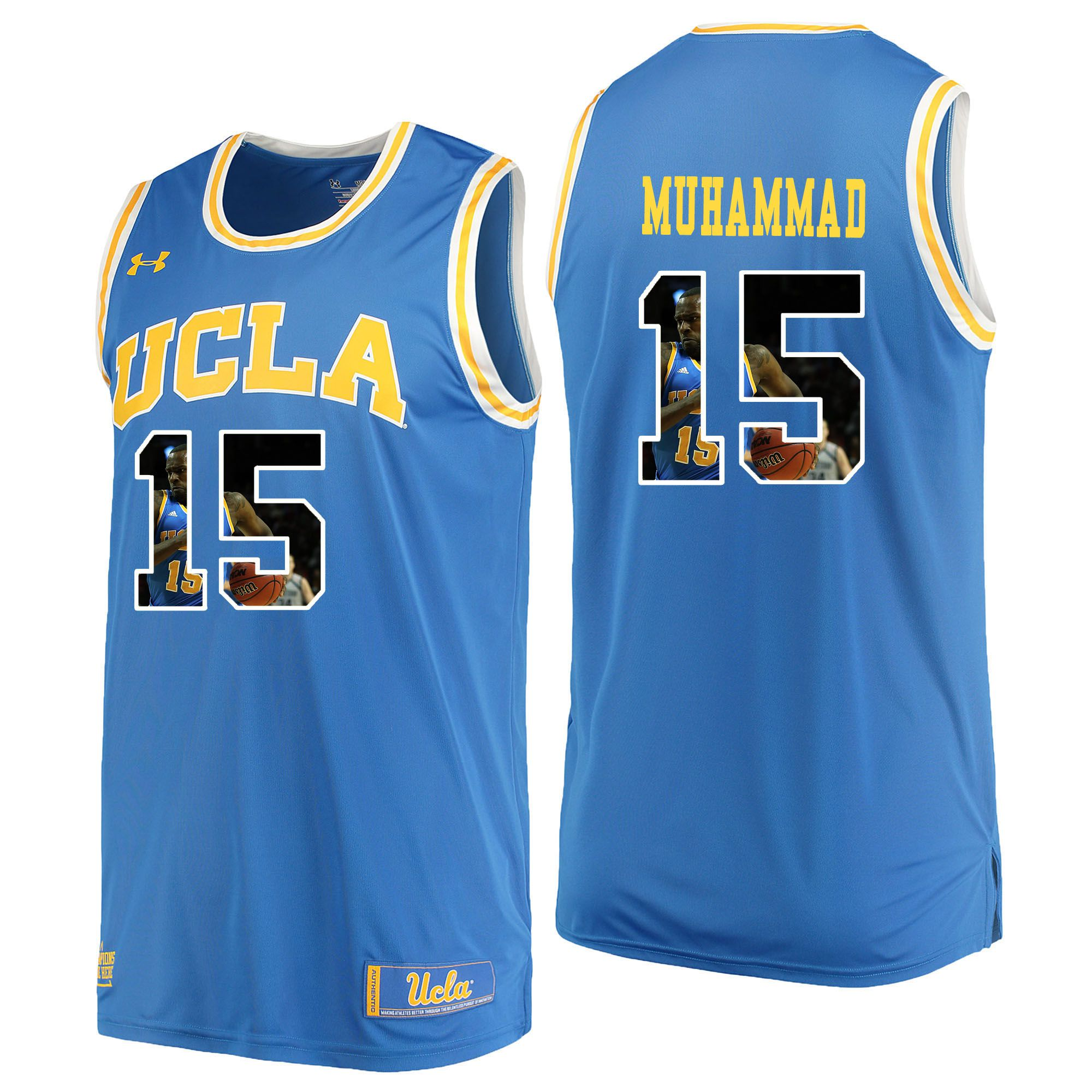 Men UCLA UA 15 Muhammad Light Blue Fashion Edition Customized NCAA Jerseys
