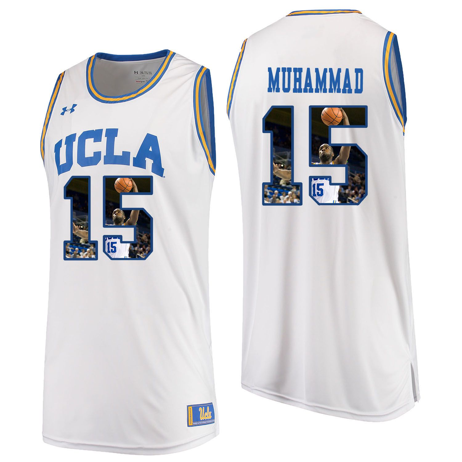 Men UCLA UA 15 Muhammad White Fashion Edition Customized NCAA Jerseys