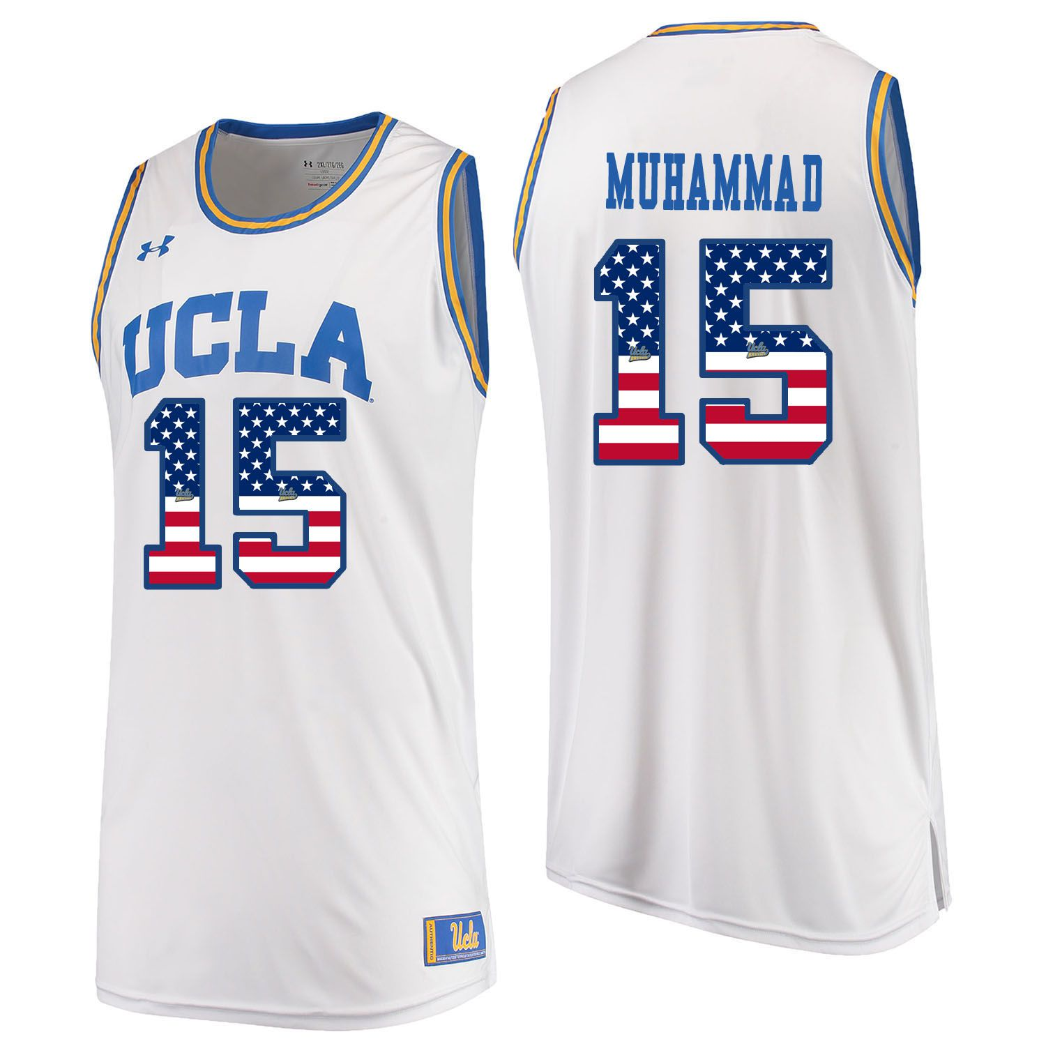 Men UCLA UA 15 Muhammad White Flag Customized NCAA Jerseys