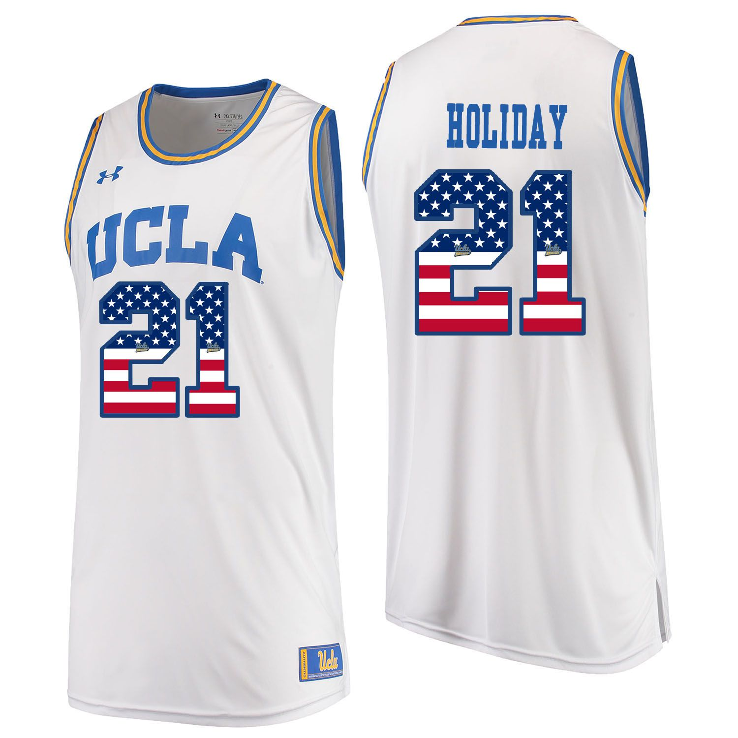 Men UCLA UA 21 Holiday White Flag Customized NCAA Jerseys