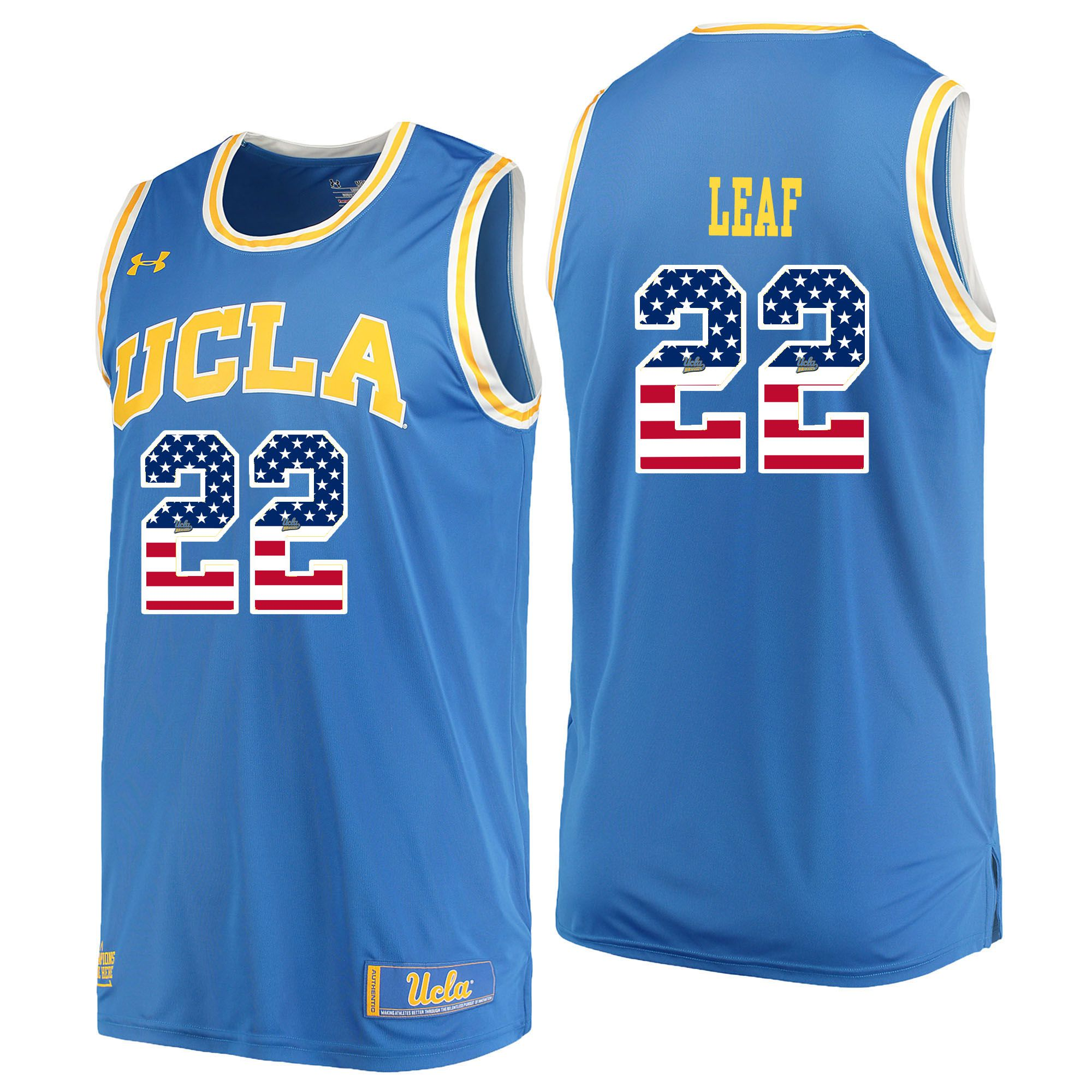 Men UCLA UA 22 Leaf Light Blue Flag Customized NCAA Jerseys