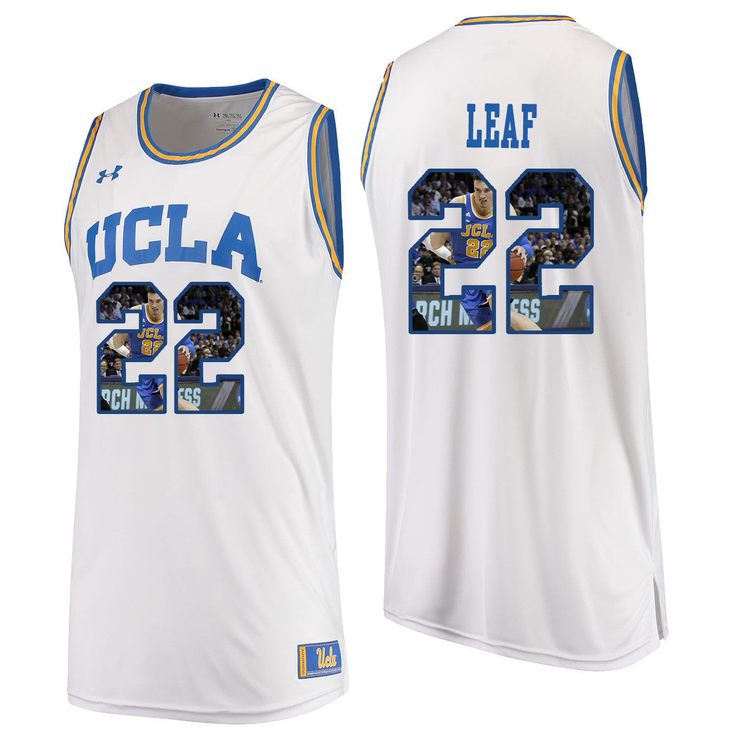 Men UCLA UA 22 Leaf White Fashion Edition Customized NCAA Jerseys