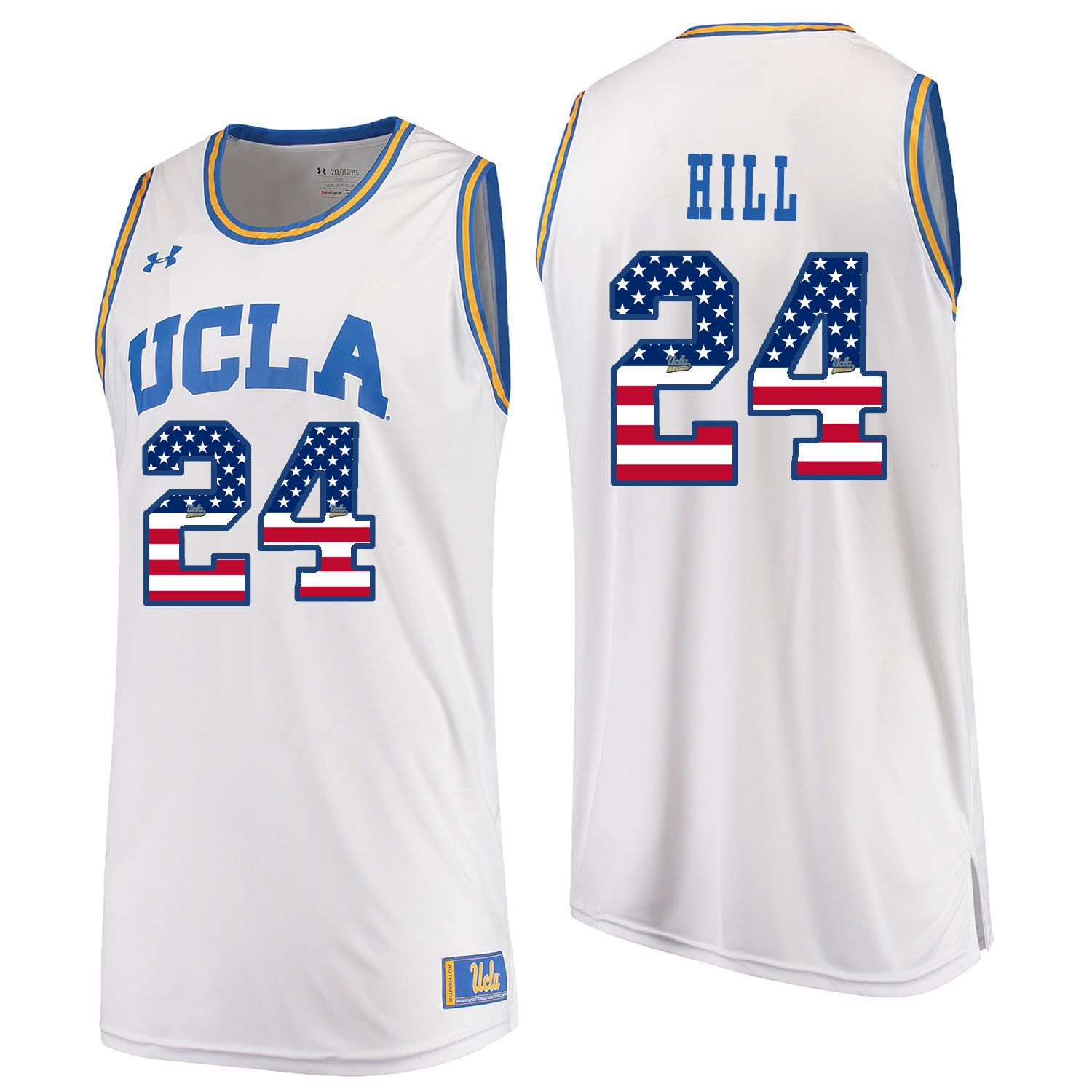 Men UCLA UA 24 Hill White Flag Customized NCAA Jerseys