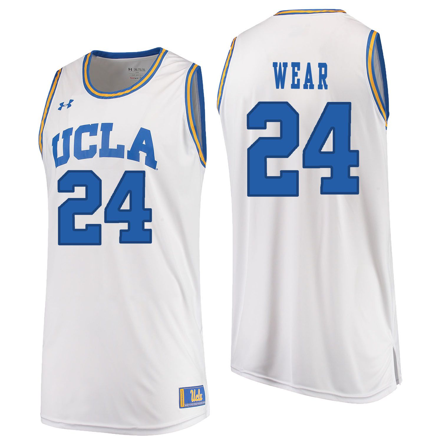 Men UCLA UA 24 Wear White Customized NCAA Jerseys