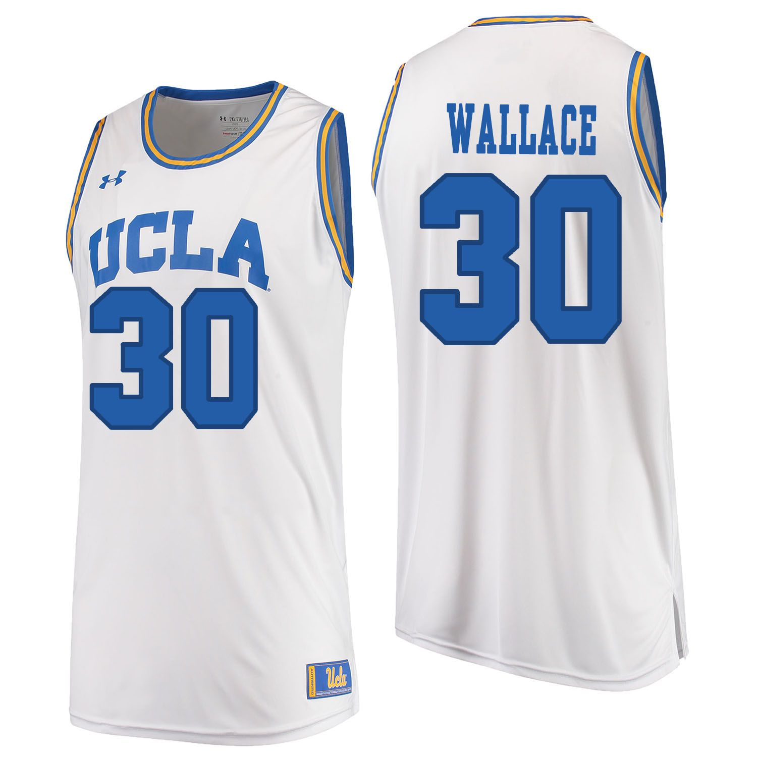 Men UCLA UA 30 Wallace White Customized NCAA Jerseys