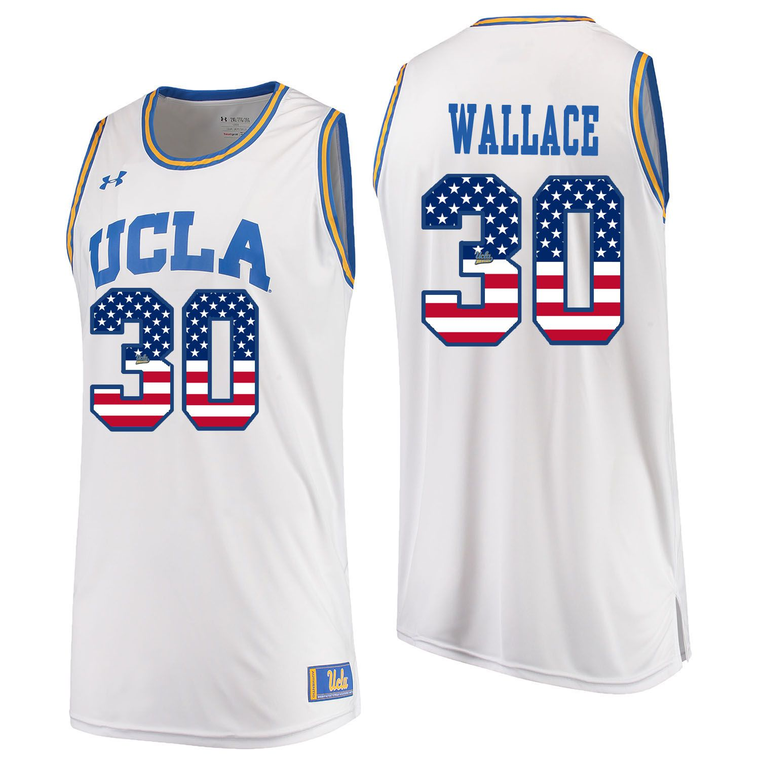 Men UCLA UA 30 Wallace White Flag Customized NCAA Jerseys