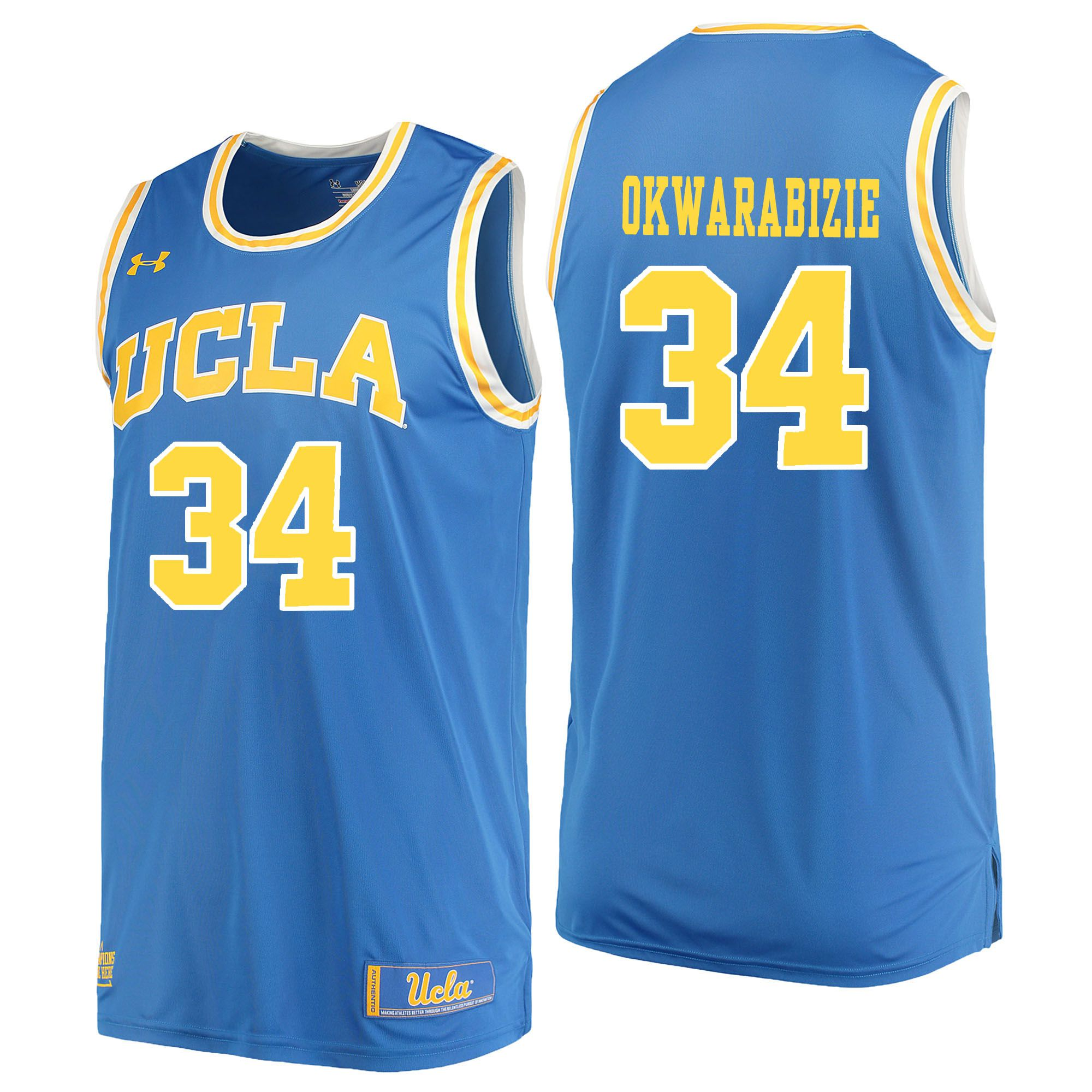 Men UCLA UA 34 Okwarabizie Light Blue Customized NCAA Jerseys