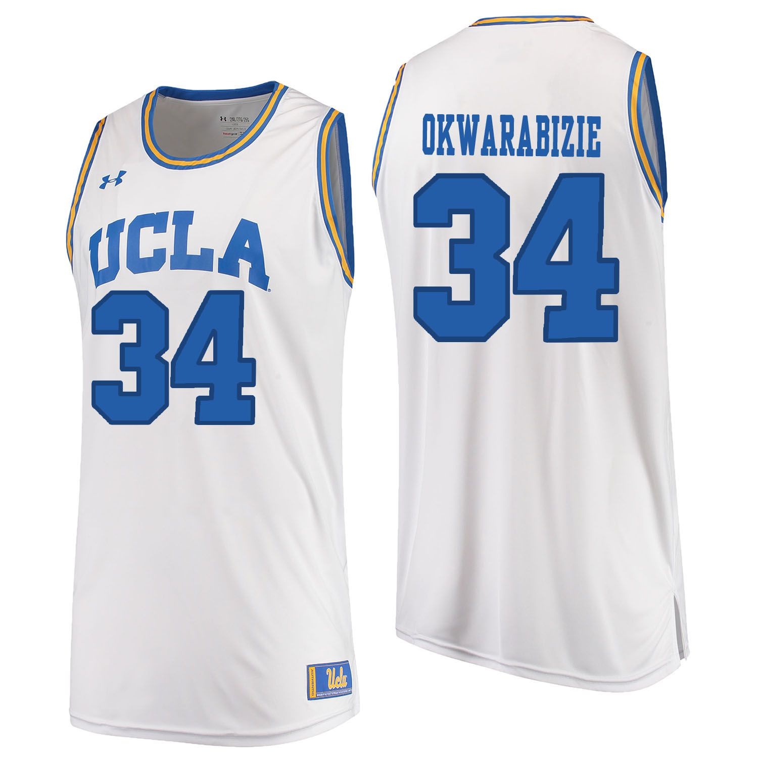 Men UCLA UA 34 Okwarabizie White Customized NCAA Jerseys