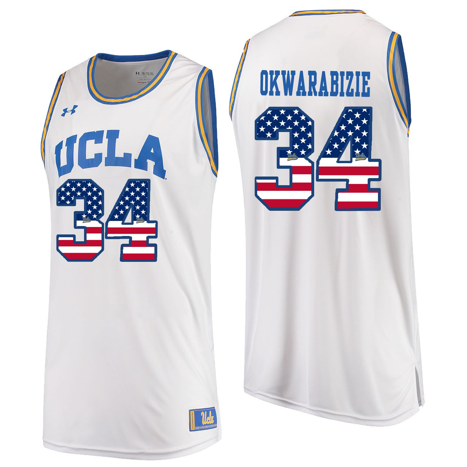 Men UCLA UA 34 Okwarabizie White Flag Customized NCAA Jerseys