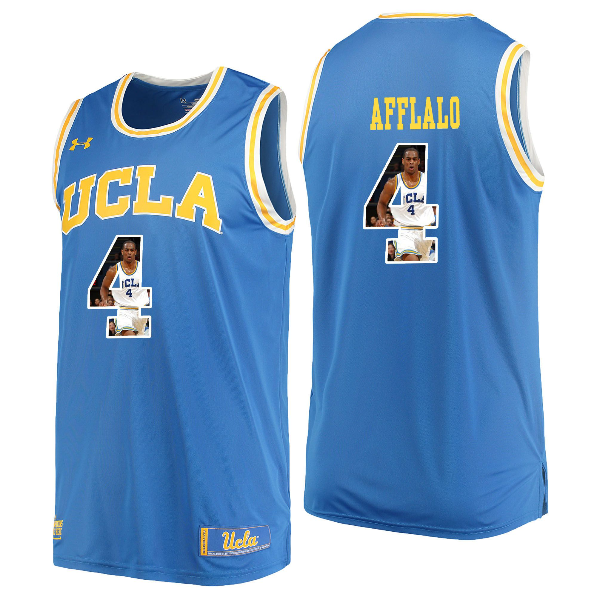 Men UCLA UA 4 Afflalo Light Blue Fashion Edition Customized NCAA Jerseys