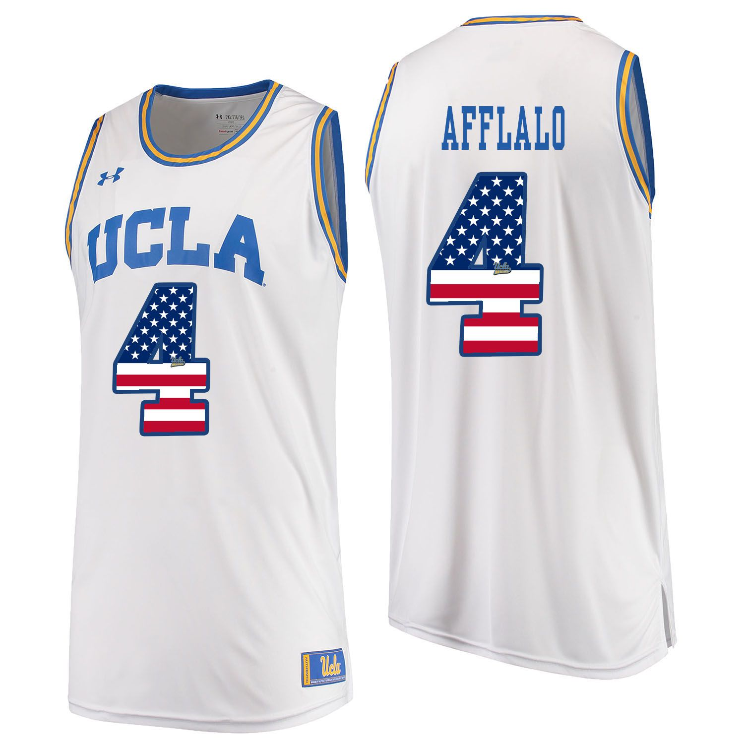 Men UCLA UA 4 Afflalo White Flag Customized NCAA Jerseys