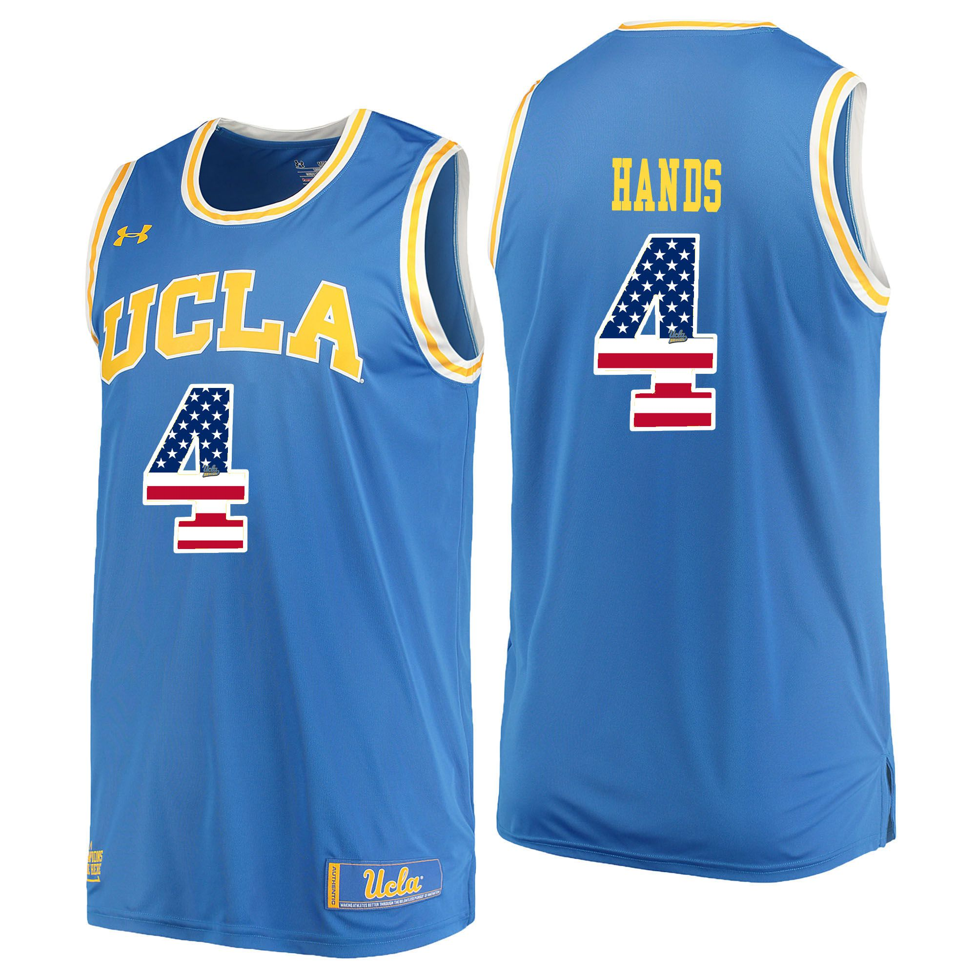 Men UCLA UA 4 Hands Light Blue Flag Customized NCAA Jerseys