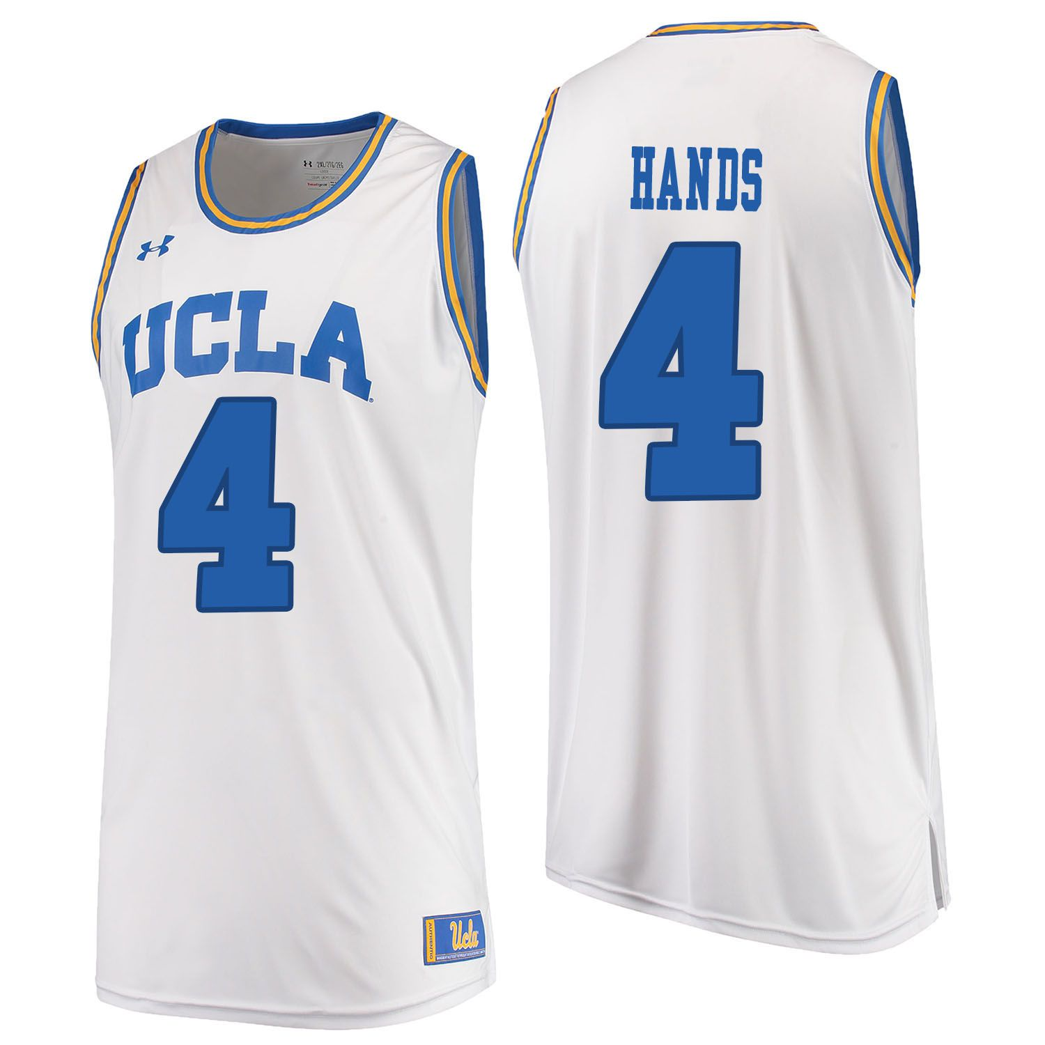 Men UCLA UA 4 Hands White Customized NCAA Jerseys