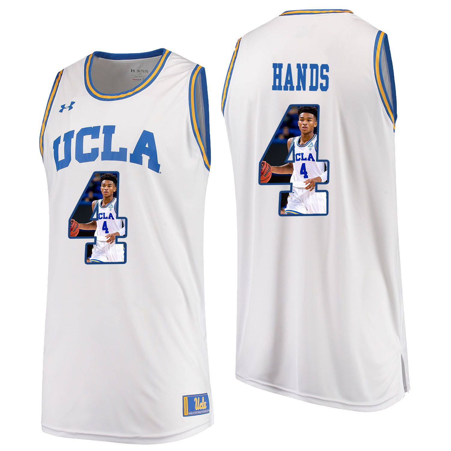 Men UCLA UA 4 Hands White Fashion Edition Customized NCAA Jerseys