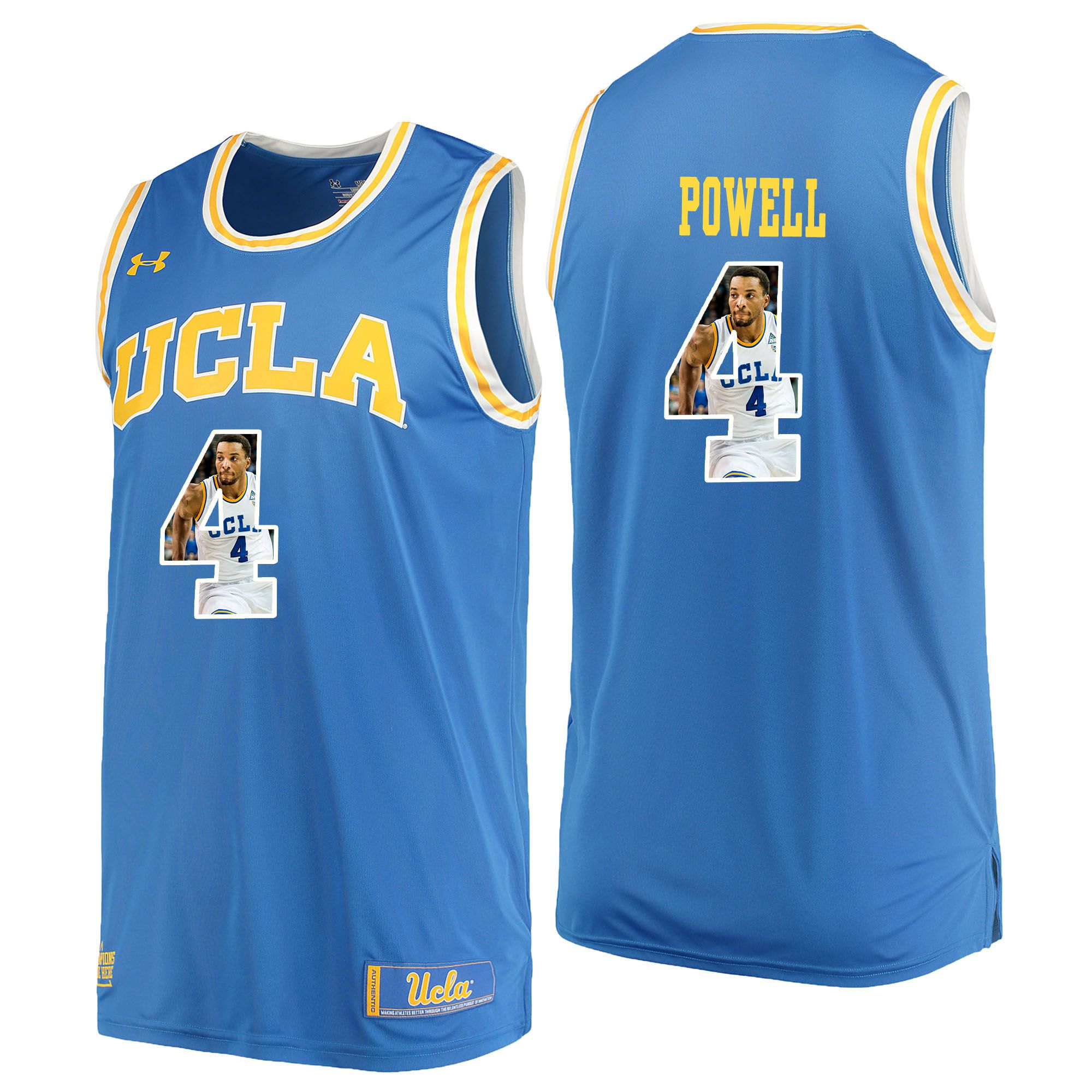 Men UCLA UA 4 Powell Light Blue Fashion Edition Customized NCAA Jerseys