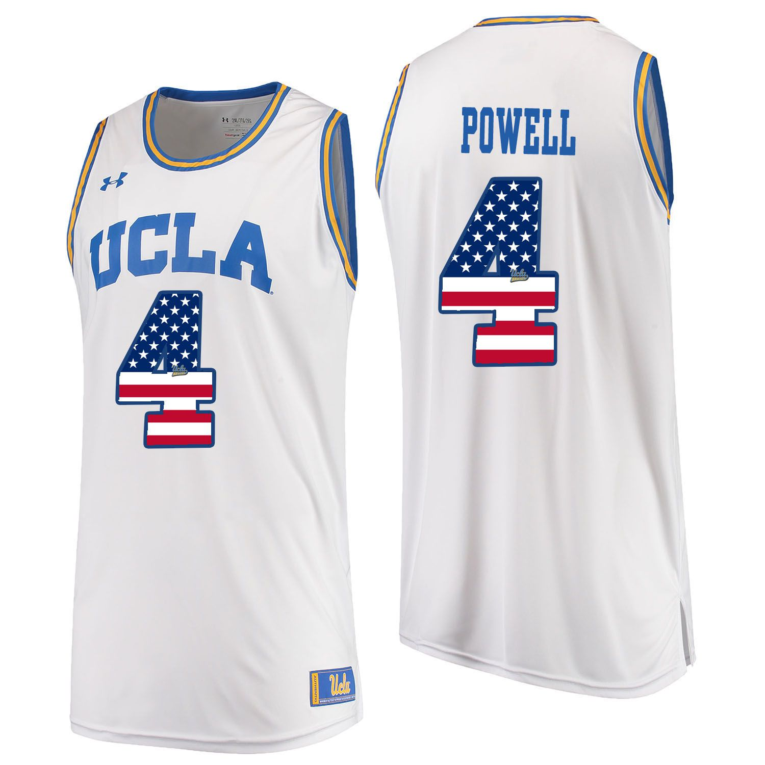 Men UCLA UA 4 Powell White Flag Customized NCAA Jerseys