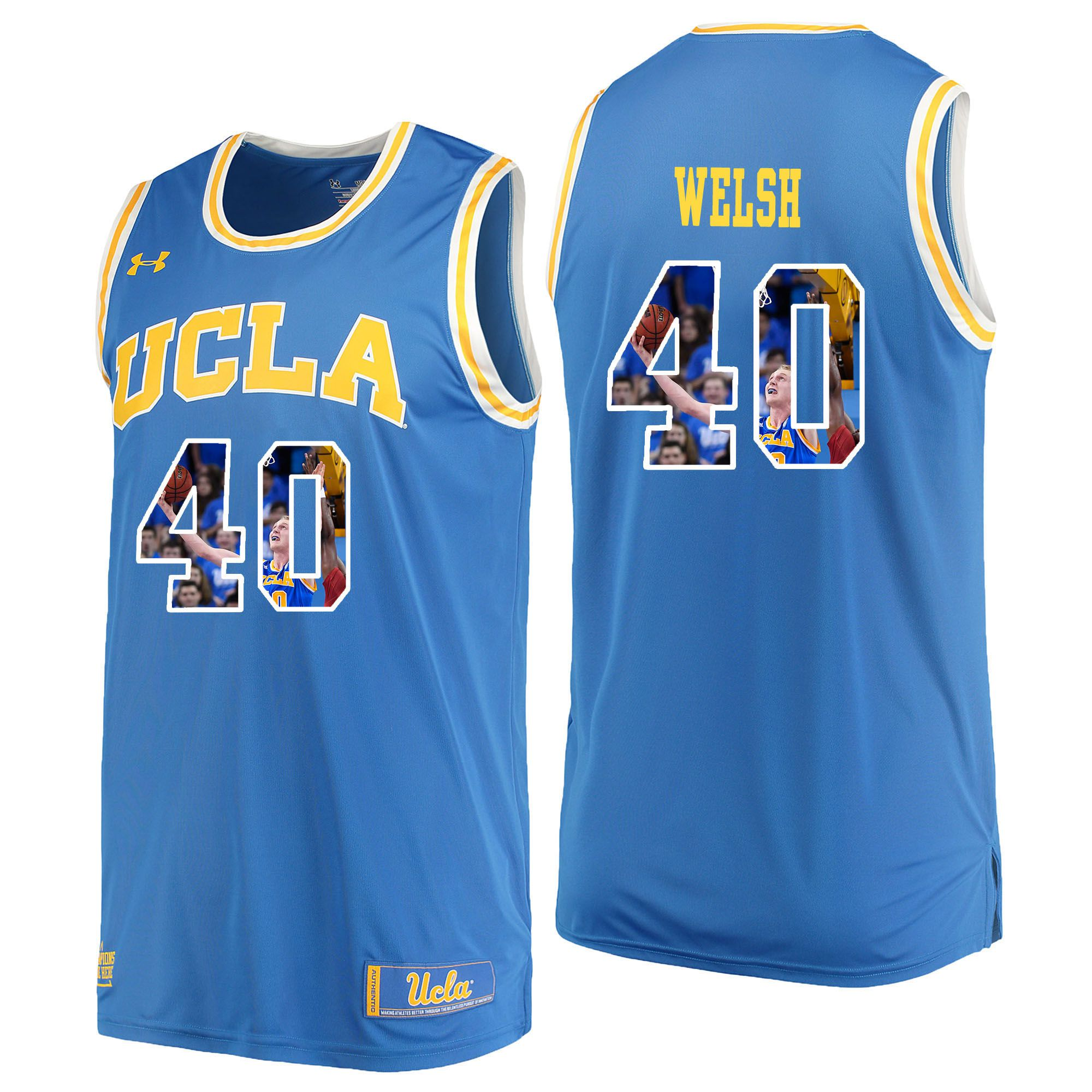 Men UCLA UA 40 Welsh Light Blue Fashion Edition Customized NCAA Jerseys