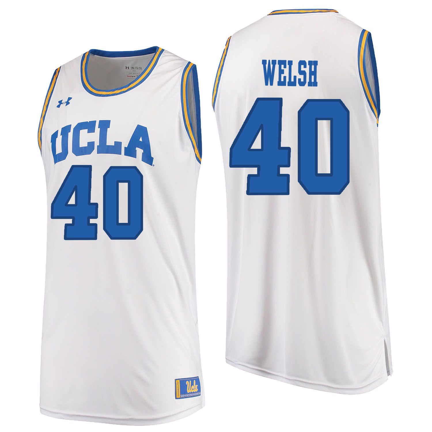 Men UCLA UA 40 Welsh White Customized NCAA Jerseys