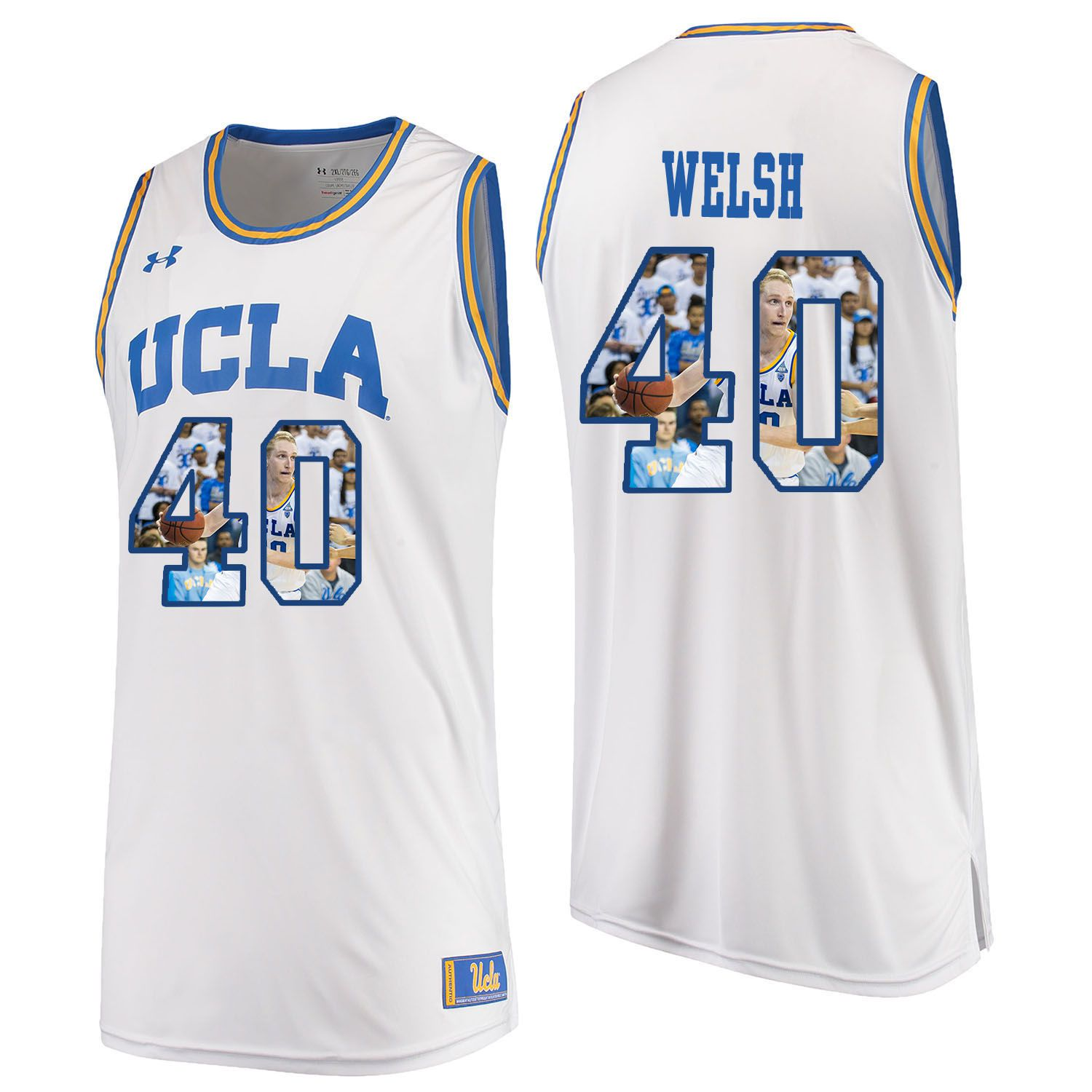 Men UCLA UA 40 Welsh White Fashion Edition Customized NCAA Jerseys